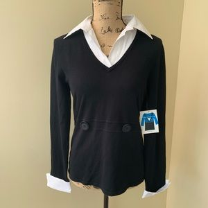 NWT Cable & Gauge black/white knit/cotton top